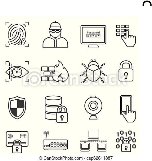 computerkraker, malware, iconen, bescherming, cyber, veiligheid, lijn, data - csp62611887