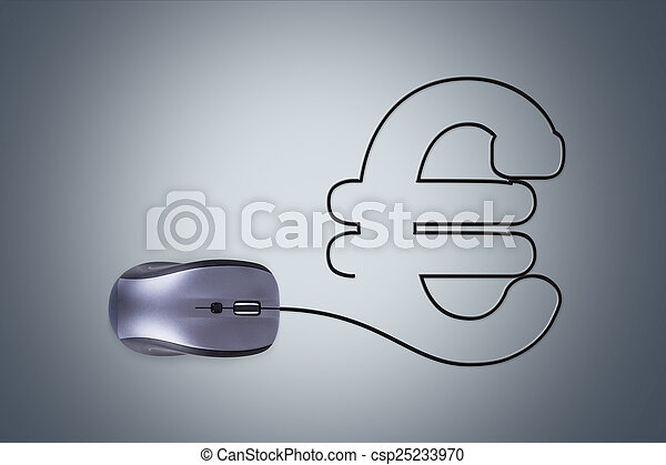 Computermaus, eurozeichen. Kabel, form, aus, zeichen, dunkel ...