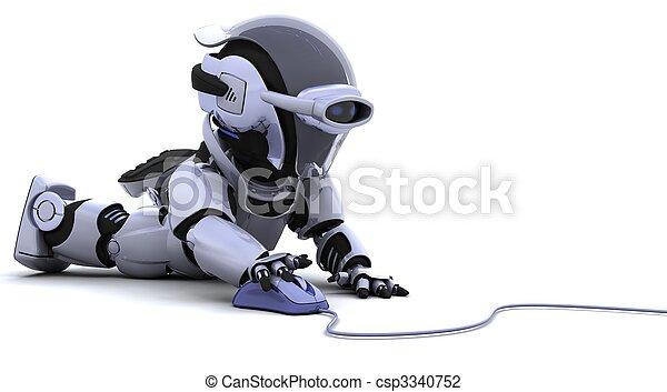 Roboter mit einer Computermaus - csp3340752