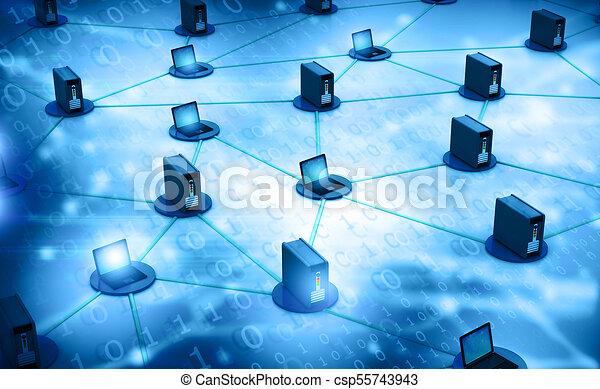 computernetzwerk, server - csp55743943