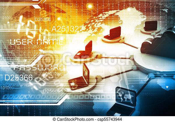 computernetzwerk, server - csp55743944