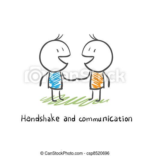 comunicação, aperto mão - csp8520696