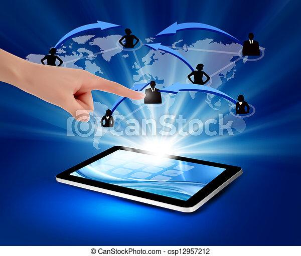 comunicação, modernos, tecnologia ilustração, vetorial, illustration., tablet. - csp12957212