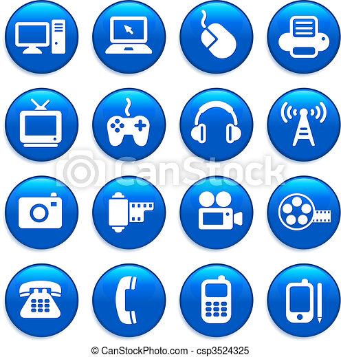 comunicação, tecnologia, elementos, desenho - csp3524325