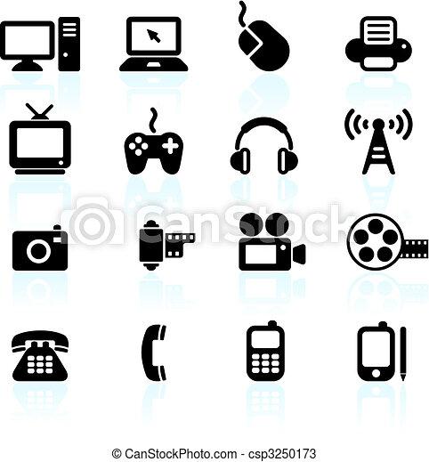 comunicação, tecnologia, elementos, desenho - csp3250173