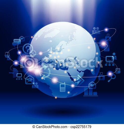 comunicación, global - csp22755179