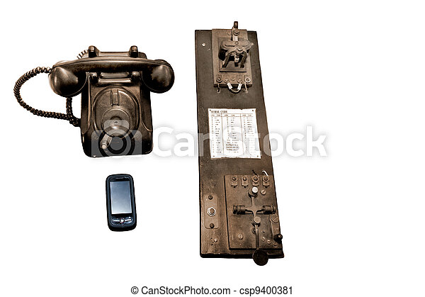 comunicación, sepia, por, años - csp9400381