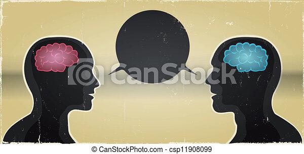comunicazione, donna, grunge, fondo, uomo - csp11908099