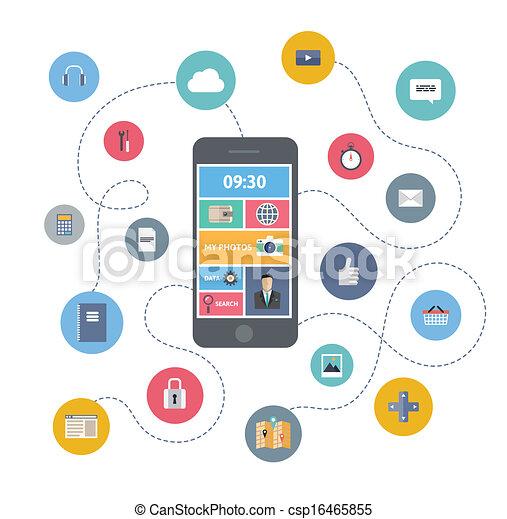comunicazione mobile, concetto, illustrazione - csp16465855