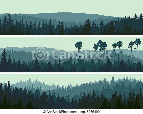 conífero, banderas, colinas, wood. - csp16256490