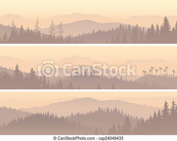 Madera conífera en la niebla matutina. - csp24049433