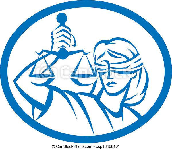 La dama con los ojos vendados sostiene la balanza oval de la justicia - csp18488101