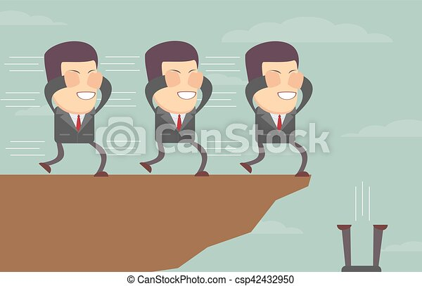 Hombres de negocios con los ojos vendados siguiéndose al acantilado - csp42432950