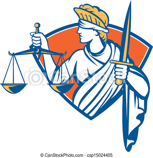 Señora con los ojos vendados sosteniendo espadas de justicia - csp15024405
