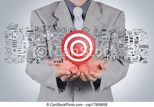 conceito, alvo, estratégia negócio, mão, homem negócios, sinal, 3d - csp17908658