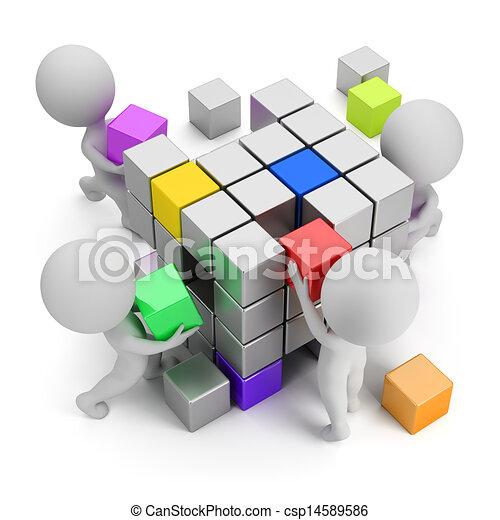 conceito, criando, pessoas, -, pequeno, 3d - csp14589586