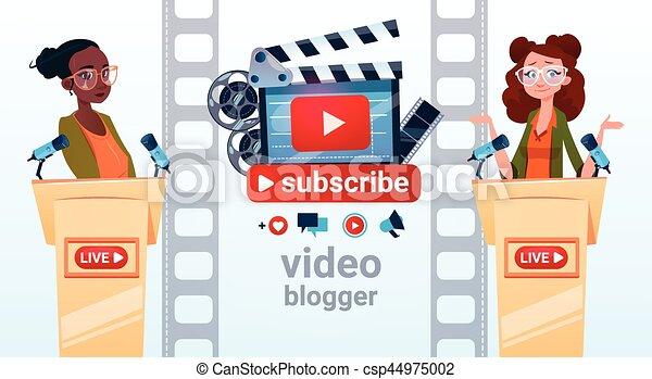 conceito, fluxo, blogger, dois, subscrever, mulher, vídeo, online, blogging - csp44975002