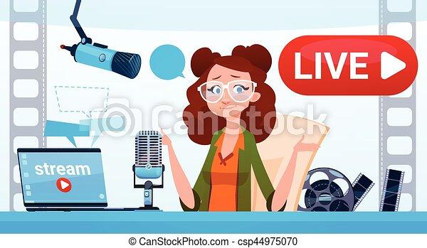 conceito, fluxo, blogger, subscrever, mulher, vídeo, online, blogging - csp44975070