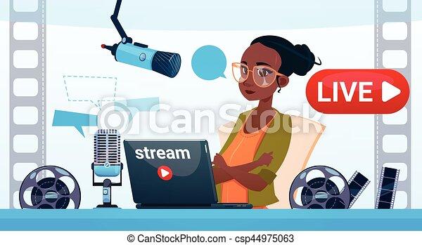 conceito, fluxo, blogger, subscrever, mulher, vídeo, online, blogging - csp44975063