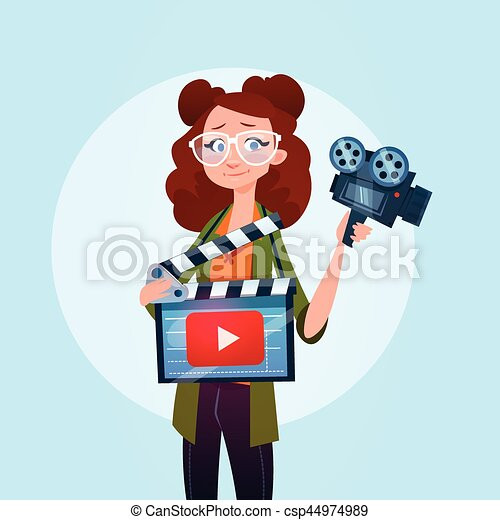 conceito, fluxo, blogger, subscrever, mulher, vídeo, online, blogging - csp44974989