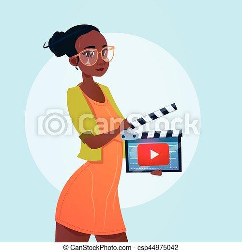 conceito, fluxo, blogger, subscrever, mulher, vídeo, online, blogging - csp44975042