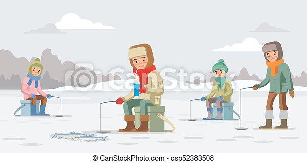 Conceito Inverno Coloridos Pesca Conceito Inverno Coloridos