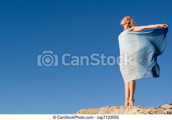 conceito, liberdade, mulher, férias, feliz - csp7123055
