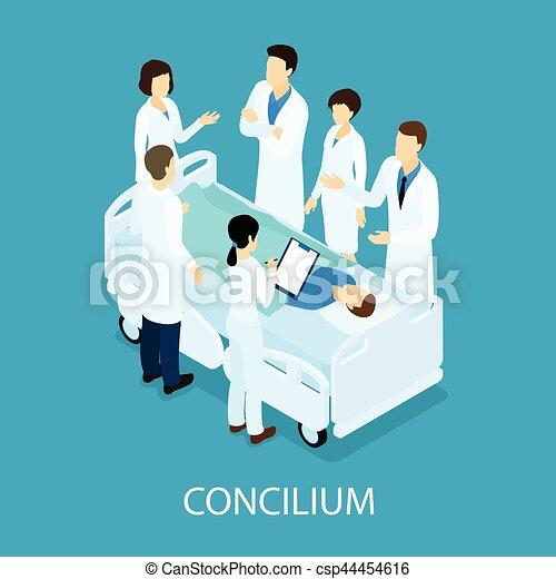 conceito médico, reunião, isometric - csp44454616