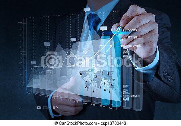 conceito, negócio, trabalhando, modernos, mão, computador, homem negócios, novo, estratégia - csp13780443