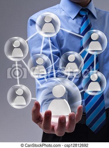 conceito, networking, speheres, vidro, conectado, social - csp12812692