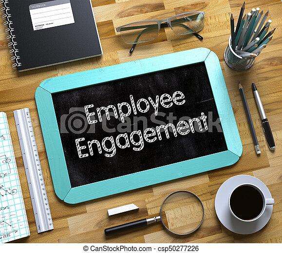 conceito, obrigação, pequeno, empregado, chalkboard., 3d. - csp50277226