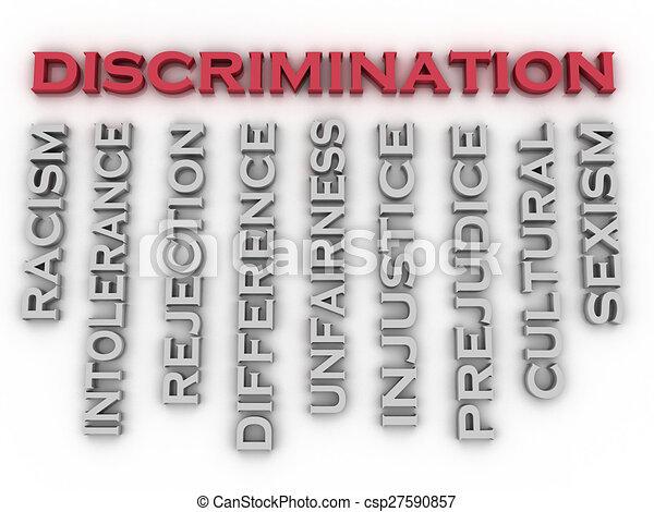 conceito, palavra, discriminação, imagem, edições, fundo, nuvem, 3d - csp27590857