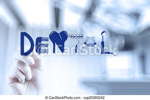 conceito, palavra, doutor, dental, mão, desenho, desenho - csp20393242