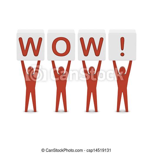 conceito, palavra, illustration., homens, wow., segurando, 3d - csp14519131