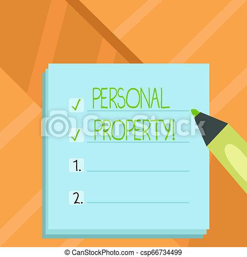 conceito, palavra, negócio, posses, pessoal, texto, privado, escrita, indivíduo, pertences, ativos, property., owner. - csp66734499