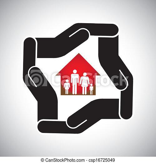 conceito, propriedade, casa, seguro lar, família, &, pessoal, também, saúde, ativo, vector., segurança, negócios, real, negócio, cofre, proteção, representa, gráfico, proteção, etc, ou - csp16725049