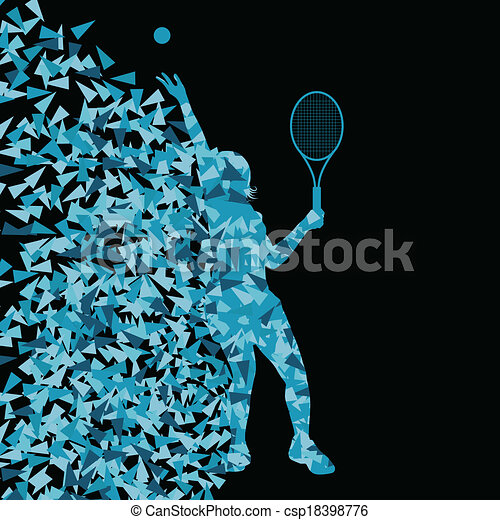 conceito, silueta, cartaz, tênis, triangular, ilustração, esportes, jogadores, vetorial, fundo, ativo, explosão, fragmentos, feito - csp18398776