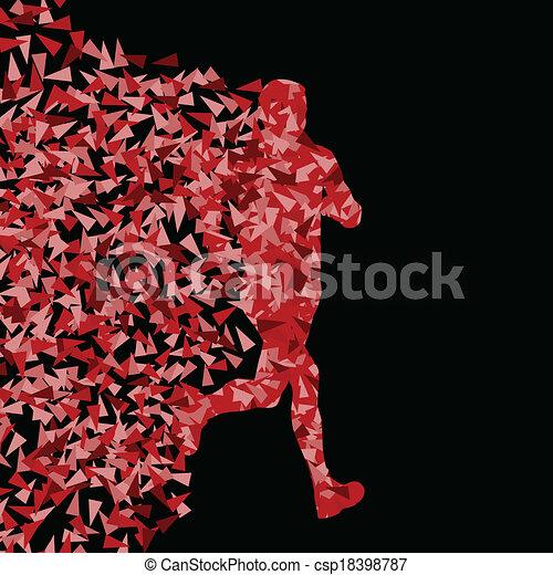 conceito, silueta, corredor, cartaz, triangular, ilustração, esportes, vetorial, fundo, ativo, explosão, fragmentos, feito - csp18398787