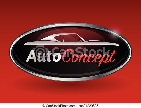 conceito, silueta, cromo, car, desenho, músculo, emblema - csp34229598