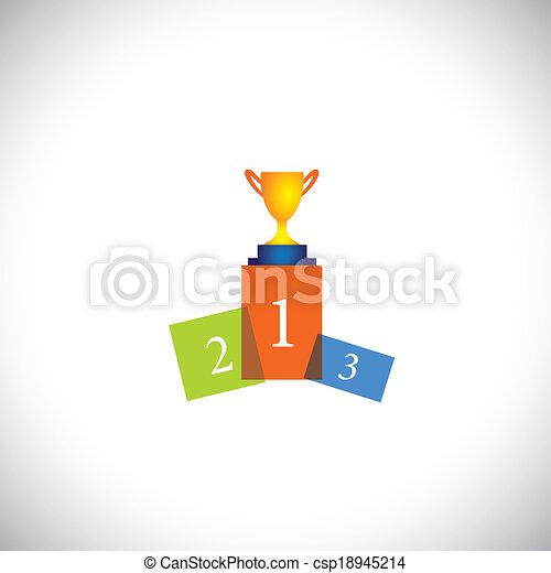 conceito, sucesso, coloridos, copo, abstratos, -, pódio, vetorial, ícone - csp18945214