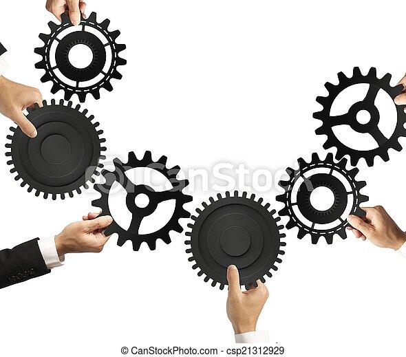 conceito, trabalho equipe, integração - csp21312929