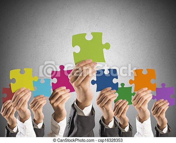 conceito, trabalho equipe, integração - csp16328353