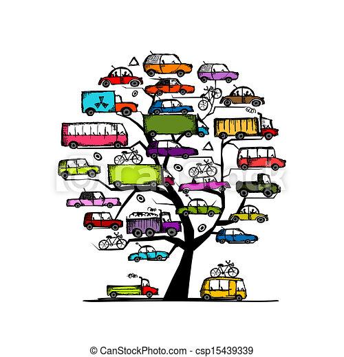 conceito, transporte, árvore, carros, desenho, seu - csp15439339