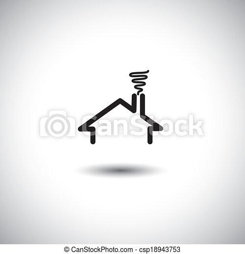 conceito, &, vetorial, fumaça, telhado, lar, chaminé, ícone - csp18943753