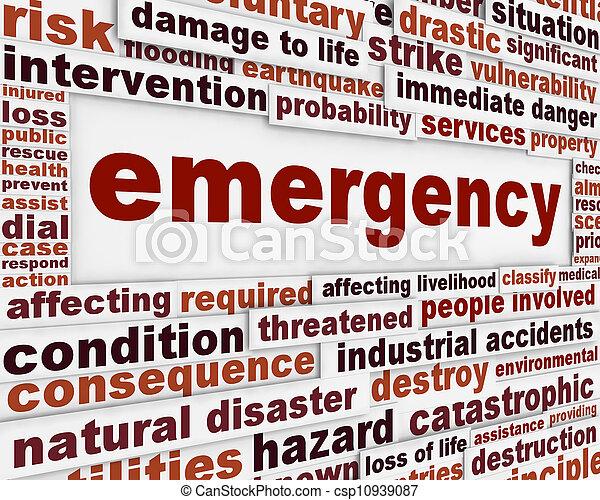 conceitual, mensagem, emergência, fundo - csp10939087