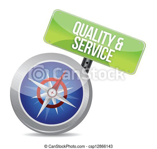 conceitual, qualidade, serviço, compasso - csp12866143