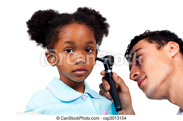 Concentrated doctor examining his young patient  - csp3013154