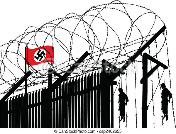 Concentration camp. Vector illusration of german concentration camp ...