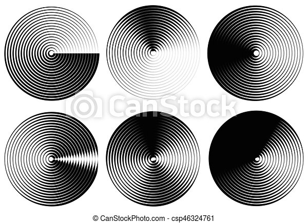 Concentric circles, rings abstract pattern. Suitable as backgrounds or elements. - csp46324761