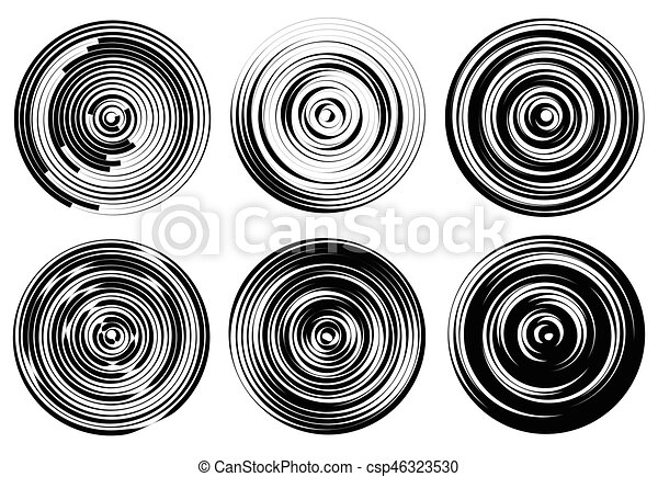 Concentric circles, rings abstract pattern. Suitable as backgrounds or elements. - csp46323530